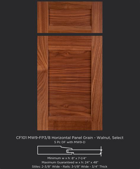 Cabinet Door Company Cf101 Mw9 Fp3 8 Horizontal Grain Walnut Select Taylorcraft Cabinet Door Company