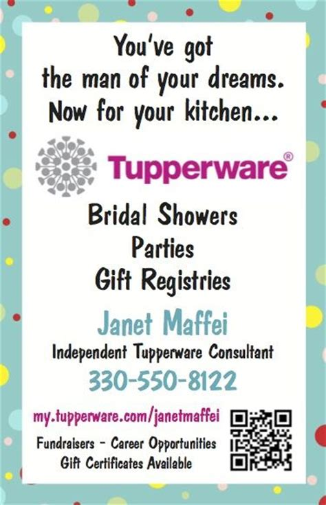 tupperware business cards template janet maffei independent tupperware consultant our local