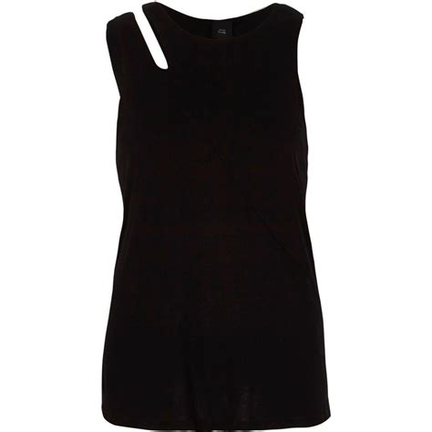 Beat Cut Out Top lyst river island black cut out shoulder sleeveless top