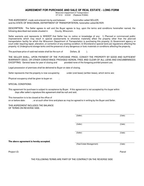 free real estate purchase agreement template template idea