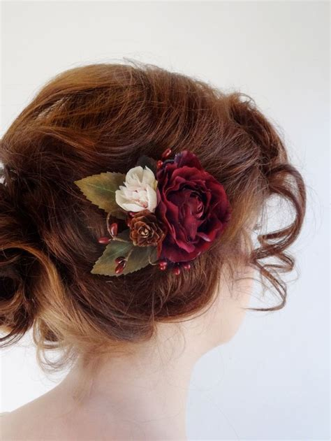 Burgundy hair accessory, bridal hair clip, burgundy flower