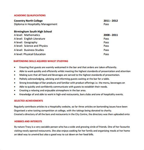 Resume Template Bartender by 8 Bartender Resume Templates For Free Sle