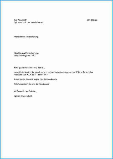 Brief Schreiben Muster Versicherung 8 wohnung k 252 ndigung vorlage rechnungsvorlage