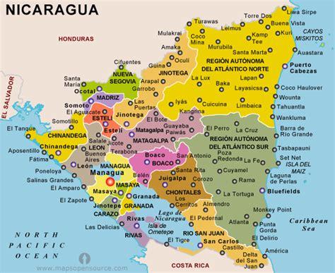 political map of nicaragua image nicaragua political map