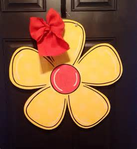 flower wooden door hanger by sweetsophiejacks on etsy
