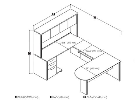 Computer Desk Dimensions Embassy U Shaped Desk With Peninsula Table Bestar Smart Furniture