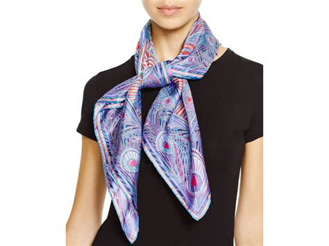 liberty hera square silk scarf in blue lyst
