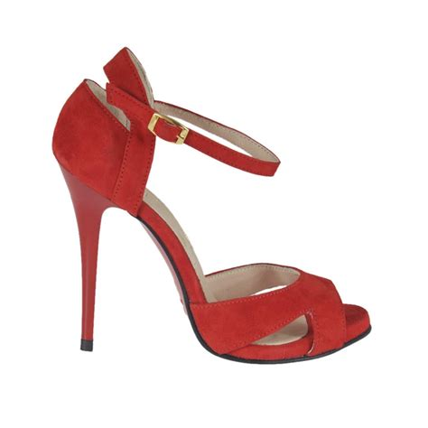 shoe sizing heel woman s open shoe with strap and platform in red suede