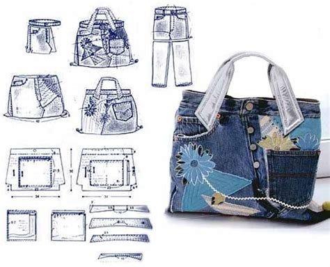 jeans backpack pattern recycled jeans bags patterns bags 3 denim pinterest