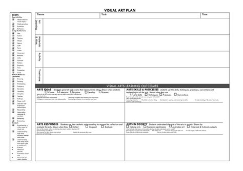 visual arts lesson plan template visual arts lesson plan template visual plan
