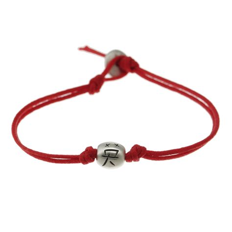 Me&Ro Silver Courage Bead Red Bracelet   Me&Ro