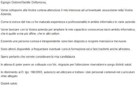 lettere autocandidatura lettera di presentazione