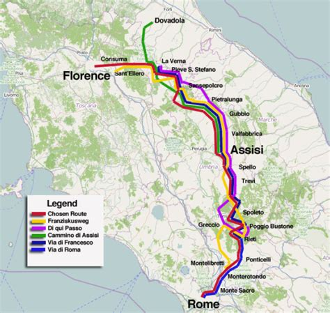 camino italia the many frances routes between florence assisi and