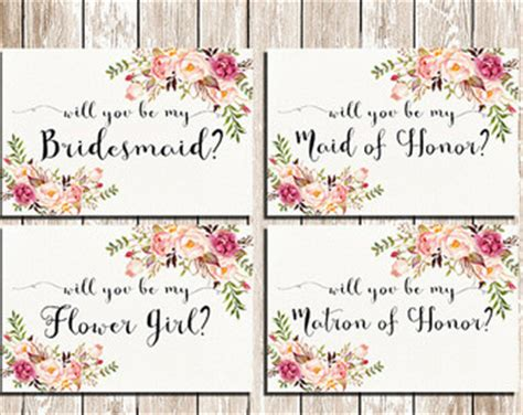 will you be my will you be my bridesmaid printable set wedding card diy