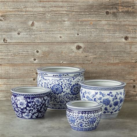 Blue And White Pottery Planters by Blue White Ceramic Planter Large Williams Sonoma