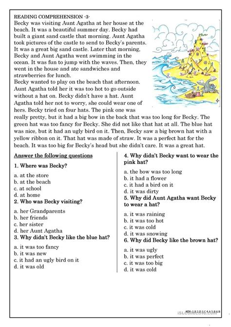Reading Worksheets For Elementary Students by Elementary Reading Comprehension Worksheets Free