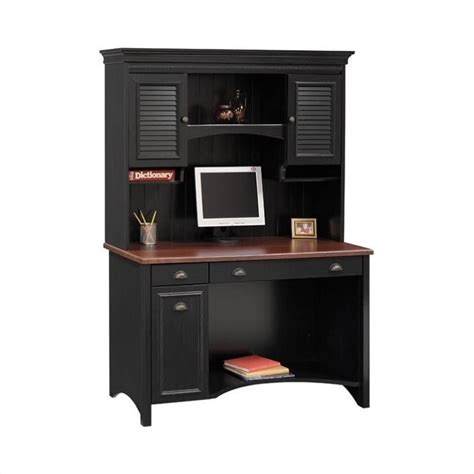 Bush Stanford Wood Computer Desk With Hutch In Black Desks With Hutch