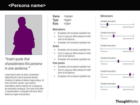 persona design template persona template with motivations goals points