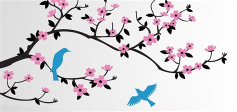 Birdcage Wall Art Stickers cherry blossom branch with birds wall decal