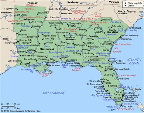 map of the south south map region area