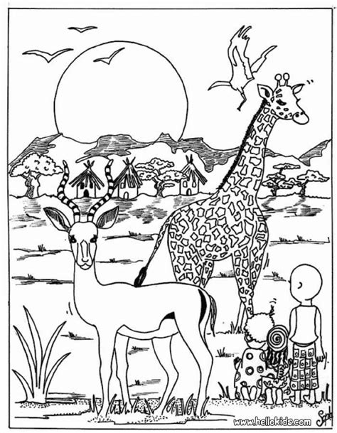 coloring sheets african animals giraffe and antelope coloring page dierentuindieren