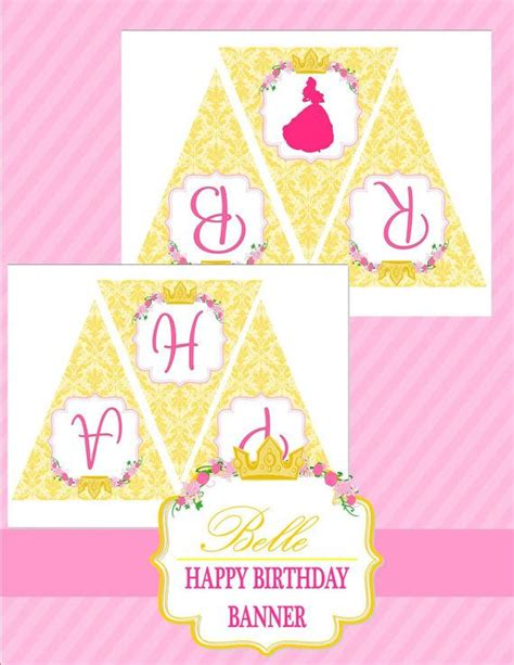 disney princess printable birthday banner beauty and the beast inspired happy birthday banner