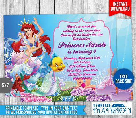 little mermaid birthday invitation 2 by templatemansion