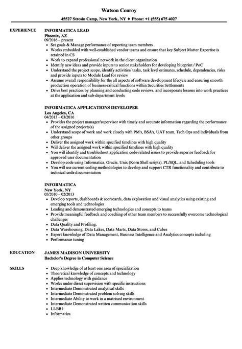 Informatica Resume by Informatica Resume Sles Velvet