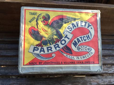 vintage brick of 12 swedish parrot safety cigarette cigar match boxes the antique store
