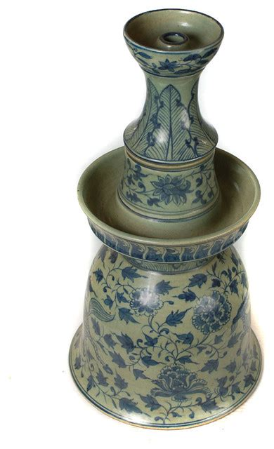 chinese blue white kirin porcelain candle holder asian