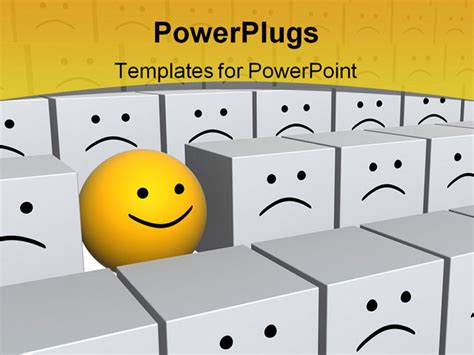 templates powerpoint smile bright yellow sphere with smile in row of grey boxes