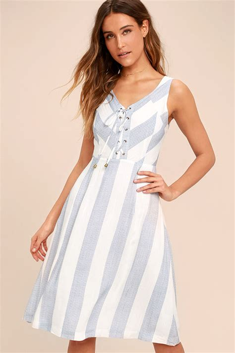 blue and white striped dresser cute blue and white dress striped dress midi dress