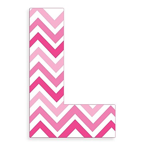 L Pink by Stupell Industries Tri Pink Chevron 18 Inch Hanging Letter