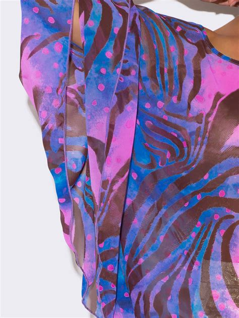Tops Abstrak Blue plus size blue abstract animal print sheer tunic top