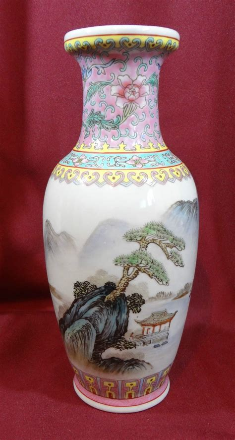 China 10 Inch china vase porcelain landscape 10 inch other asian pottery