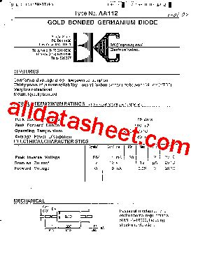 germanium diode aa112 aa112 datasheet pdf list of unclassifed manufacturers