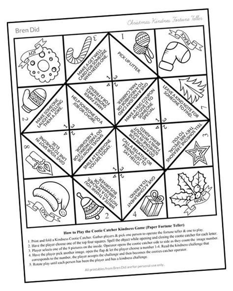 printable christmas fortune teller random acts of kindness for kids christmas cootie catcher