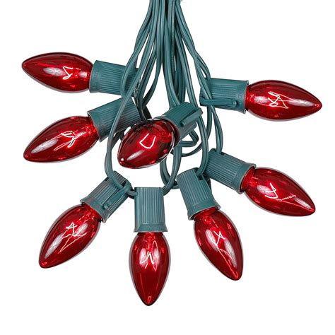 100 red c9 christmas light set on green wire novelty