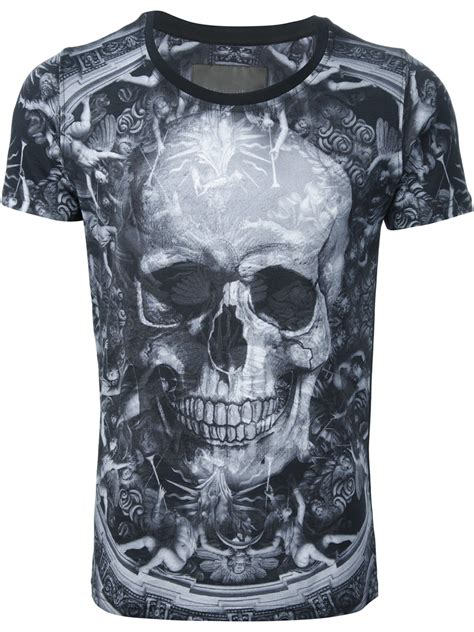 philipp plein skull and cherub print t shirt in black for