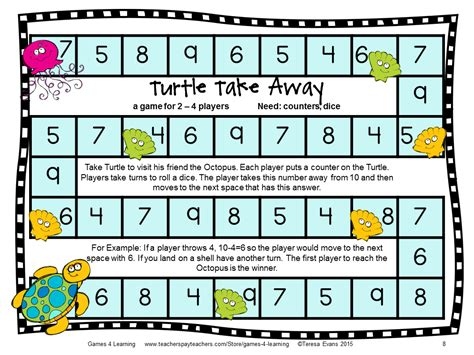 printable math division board games ocean animals subtraction board games subtraction games