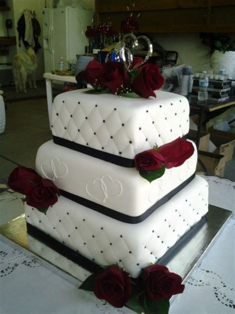 Wedding Square Cake by Black And White Square Wedding Cake Cakecentral