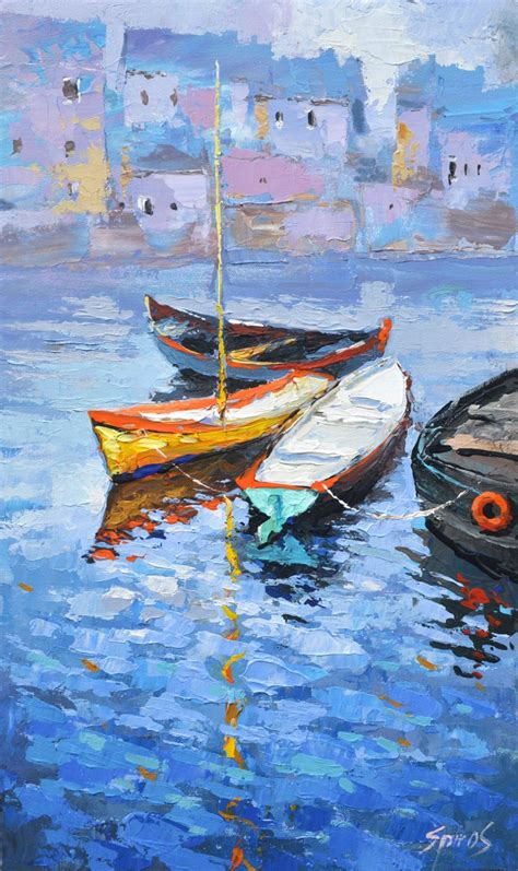 boat oil painting lonely boat oil painting on canvas by dmitry spiros 26