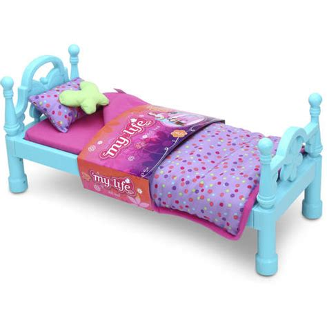 my life doll bed my life as bed with bedding 18 quot doll pink walmart com