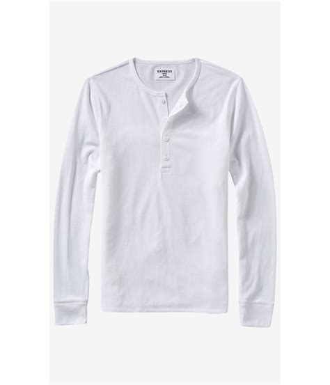 Blouse Waffle 1 express sleeve waffle knit henley t shirt in white for lyst