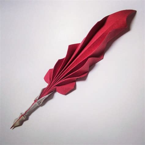 Origami Quill Pen - curved origami using folding technique stede curated