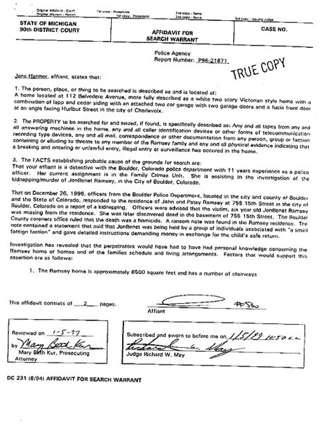 City Of Warrant Search Jonbenet Ramsey Documents The Gun