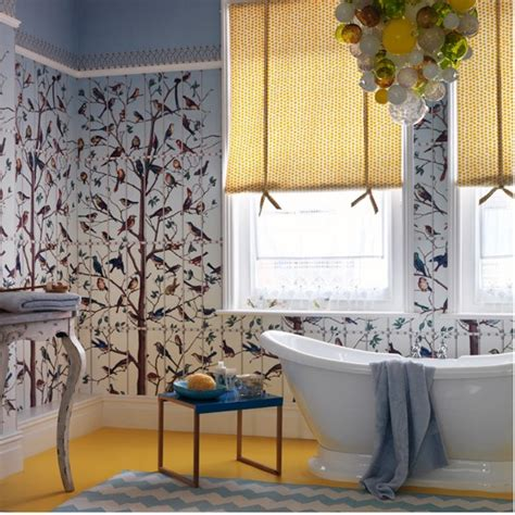 bathroom wallpaper ideas uk quirky bathroom with bird themed wallpaper easy bathroom