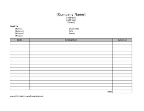 landscape invoice template free invoice template 2017