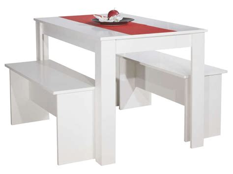 ensemble table et banc table 110 x 70 cm 2 bancs paros coloris blanc vente de