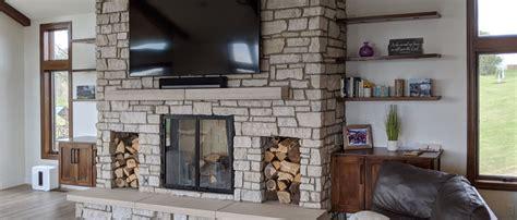 modern rustic living room design  veneer stone